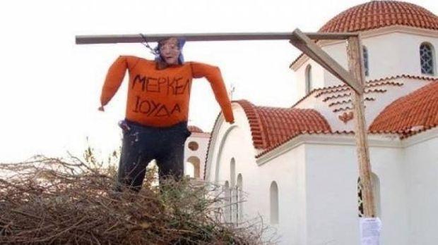 Κρήτη: Αντί για τον Ιούδα έκαψαν...τη Μέρκελ
