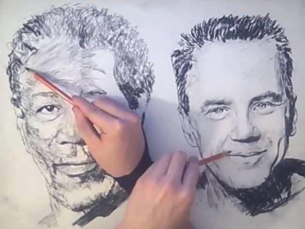Τρομερό: Ζωγραφίζει πορτραίτα με τα δύο χέρια ταυτόχρονα! (βίντεο)