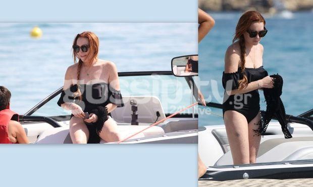 Οι αρετουσάριστες φωτογραφίες της Lohan στη Μύκονο και η τεράστια μελανιά!